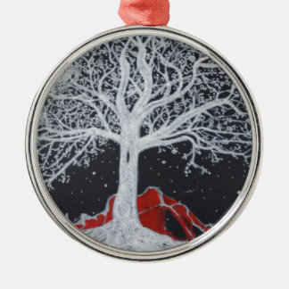 Glowing tree of life on a black background Silver-Colored round ornament