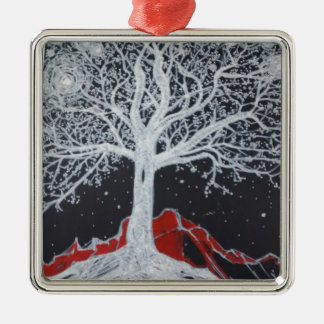 Glowing tree of life on a black background Silver-Colored square ornament
