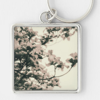 Glowing Tree (Yellow/Green) Silver-Colored Square Keychain