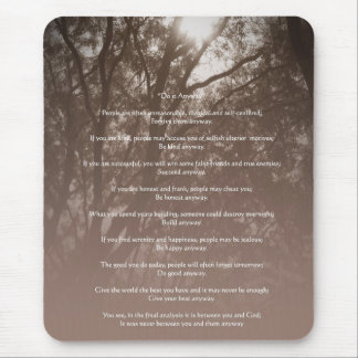 """Glowing Trees """"Do It Anyway"""" Mouse Pad"""