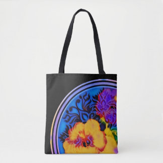 Glowing tropical hibiscus on black tote bag