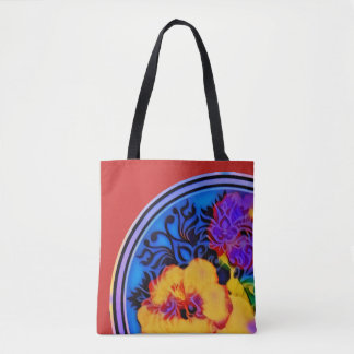 Glowing tropical hibiscus on red tote bag