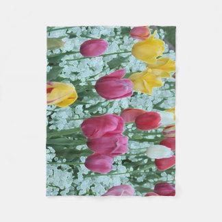 Glowing Tulip Garden Fleece Blanket