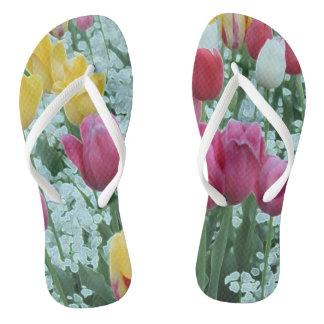 Glowing Tulip Garden Flip Flops