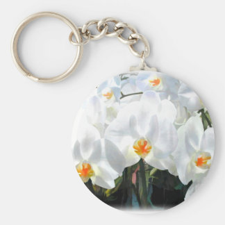 Glowing White Phalaenopsis Orchids Keychain