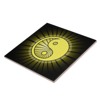 Glowing Yellow Yin Yang over Black Tile