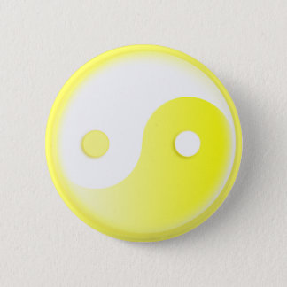 Glowing Yellow Yin/Yang Symbol 2 Inch Round Button