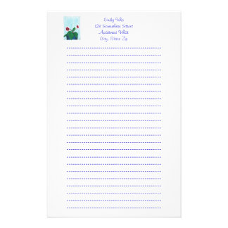 Gloxinia African Violet Flower Lined Stationery