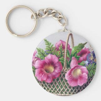 Gloxinia and Ferns in Basket Vintage Victorian Basic Round Button Keychain