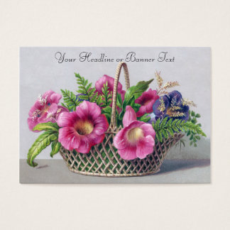 Gloxinia and Ferns in Basket Vintage Victorian Business Card