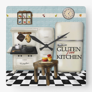 Gluten Free Kitchen Clock - Teal