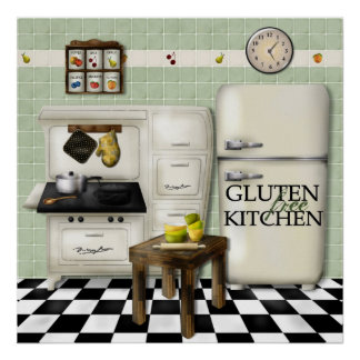 Gluten Free Kitchen Green Poster