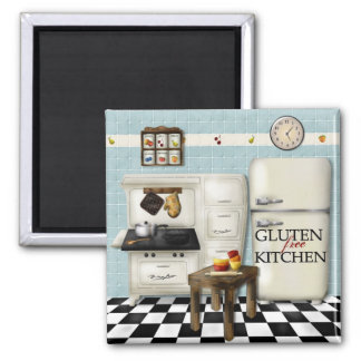 Gluten Free Kitchen - Teal bkg Magnet