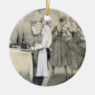 Gluttony in the Kitchen, from a series of prints d Round Ceramic Ornament