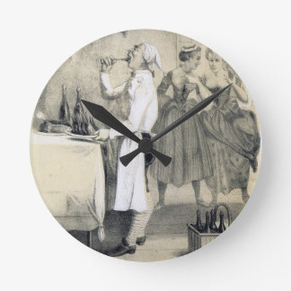 Gluttony in the Kitchen, from a series of prints d Wall Clocks