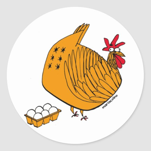 GM hen Round Stickers