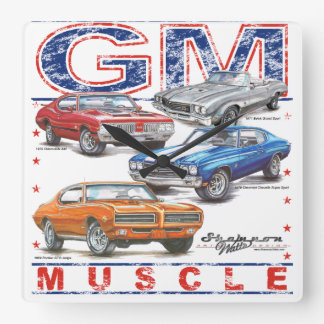 GM Muscle Square Clock