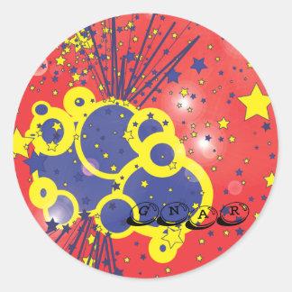 gnar round sticker