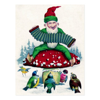 Gnome and Birds Sing and Celebrate Postcard
