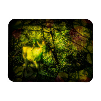 Gnome and Faun in an Enchanted Forest Rectangular Photo Magnet