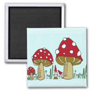 Gnome and Mushrooms Square Magnet
