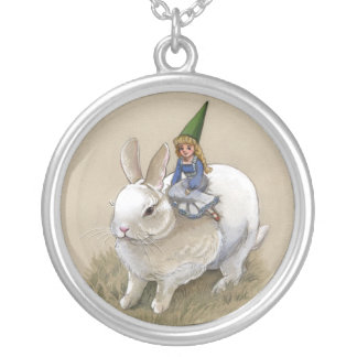 Gnome and White Rabbit Necklace