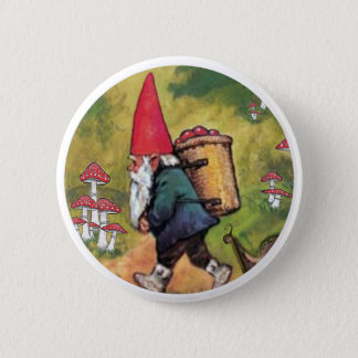Gnome Apple Basket Snail Mushrooms Fantasy 2 Inch Round Button