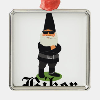 Gnome Biker Silver-Colored Square Ornament