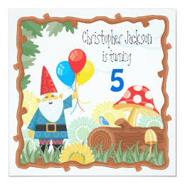 Gnome birthday cards photocards invitations more gnome birthday invitation bookmarktalkfo Image collections