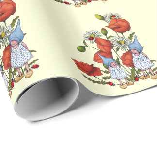 Gnome Children, Poppies, Ladybugs, Fantasy Art Wrapping Paper