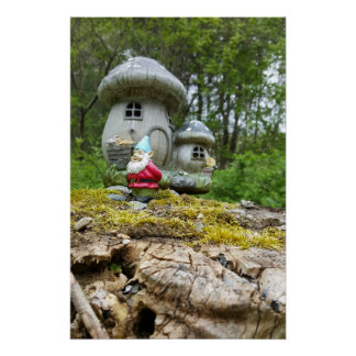 Gnome Garden Mushroom House Poster Perfect Poster