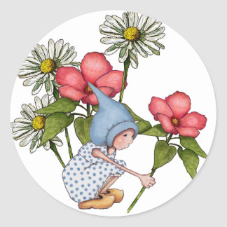 Gnome Girl Picking Flowers, Fanstasy Art Classic Round Sticker