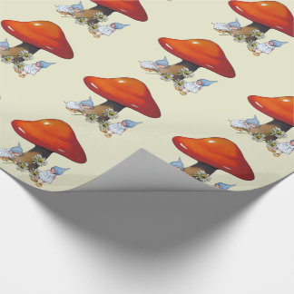 Gnome Girls, Daisies, Toadstool, Fantasy Art Wrapping Paper