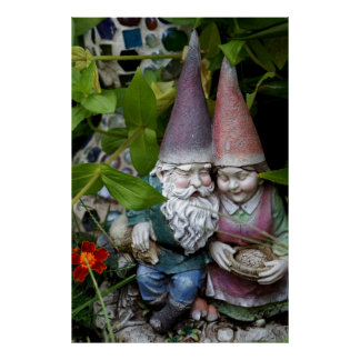 Gnome in the Garden Poster