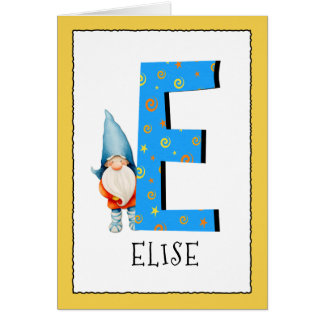 Gnome Kids Letter E Name and Age Birthday Greeting Card