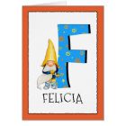 Gnome Kids Letter F Name and Age Birthday Greeting Card