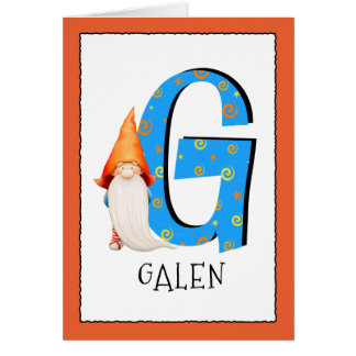Gnome Kids Letter G Name and Age Birthday Greeting Card