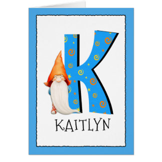 Gnome Kids Letter K Name and Age Birthday Greeting Card