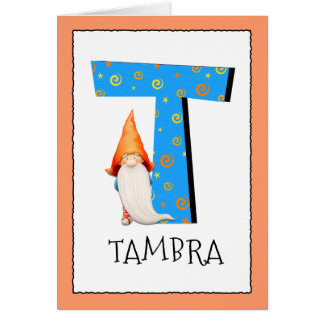 Gnome Kids Letter T Name and Age Birthday Greeting Card
