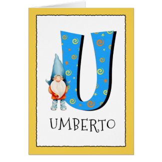 Gnome Kids Letter U Name and Age Birthday Greeting Card