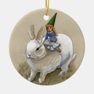 Gnome Lady And White Rabbit Ornament