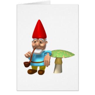 gnome leaning on mushroom greeting card