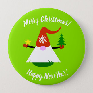 Gnome Merry Christmas Happy New Year Button