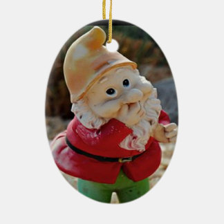 Gnome ornament. ceramic oval ornament