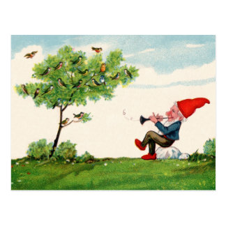 Gnome Playing Music for Birds Postcard