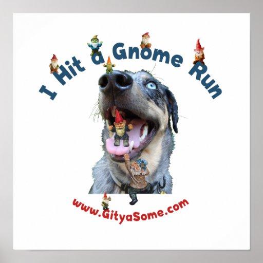 Gnome Run Home Run Dog Posters