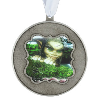 Gnome Sweet Gnome Scalloped Pewter Ornament