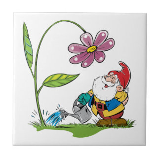 Gnome Watering a Plant Tile