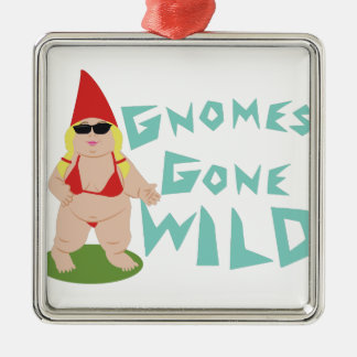 Gnome Wild Silver-Colored Square Ornament