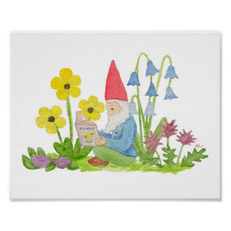 Gnome with Flower Book art print